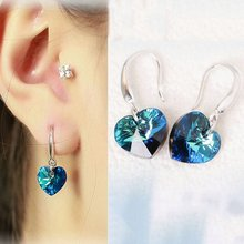 2017 Austria Crystal Silver Color Earrings Blue Heart of Ocean Shaped Earring for Birthday Gift for Women Piercing