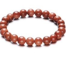 Elegant Gold Sand Boutique Beads Beads natural stone Bracelets for women men bracelets new year gifts 2017 Free Shipping 060(China)
