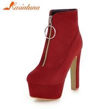 KARINLUNA Neue Fashion Square High Heels Flock Zip Runde Kappe Plattform Schuhe Frau Casual Party Winter Stiefeletten Plus Größe 34-47(China)