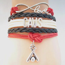 Infinity Love CAVS baseball college Team Bracelet Customized  Wristband friendship Bracelets B09322