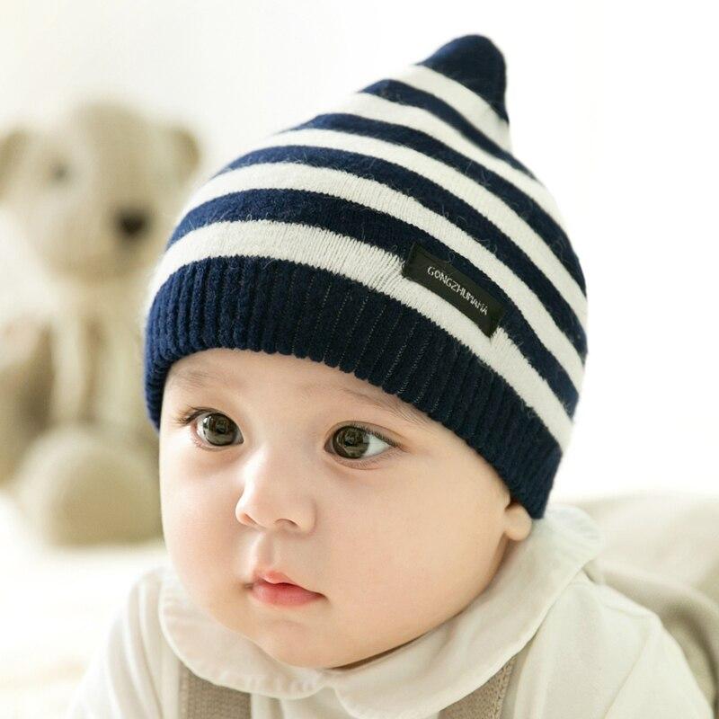 CieiK Newborn Photography Props Soft Baby Hat Warm Children Winter Cap Boys Girls beanie Infant Striped Muts Baby Accessories (2)