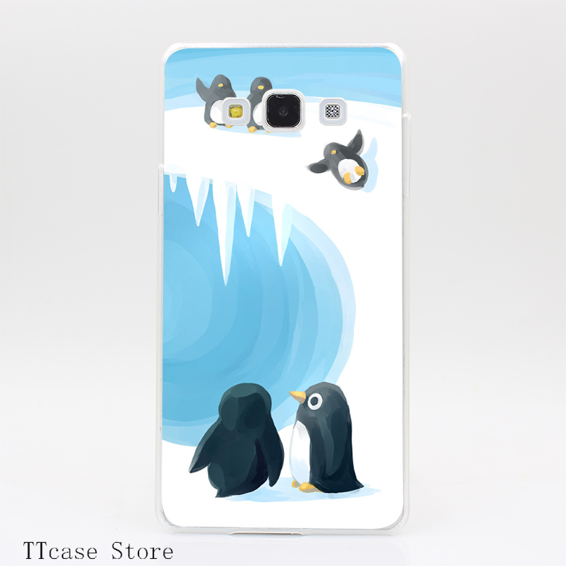 2660CA Penguin Playground Transparent Hard Cover font b Case b font for Galaxy A3 A5 A7