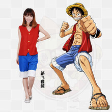 2017 hot One piece Cosplay Costumes Monkey D. Luffy 1st Cosplay T Shirt+Pants+Hat a set uniform