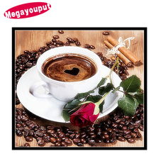 Megayouput 5d Diy Diamond Painting Cross Stitch kits Diamond Embroidery Rose Coffee Cup flowers picture Mosaic Pattern gift