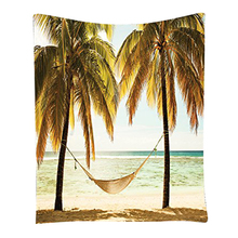 Boutique DODA Seascape Hammock Palm Trees on Shore Tropical Beach Sunset Room Dorm Accessories Wall Hanging Tapestry Yellow