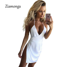 Ziamonga 2017 White Dress Summer Women Halter Irregular Cut Out Mini Dress Satin Silk Dresses Sexy Side Split Bodycon Vestidos(China)