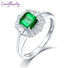 Luxury Baguette Diamond Natural Colombia Emerald Engagement Ring 14K White Gold Wholesale Christmas Fine Jewelry Father Gift(China)