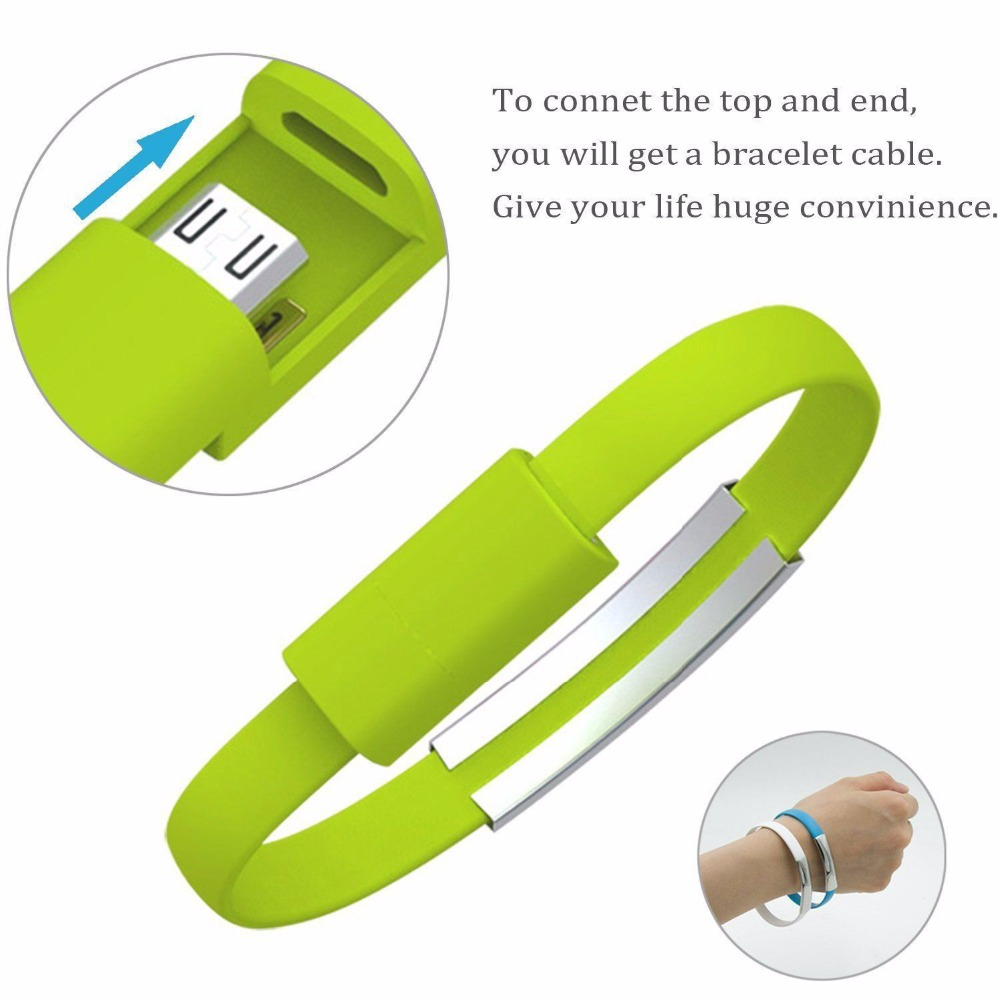 Mini Short Flat Bracelet Micro USB 2.0 Sync Data Charger Cable for Android Phones Women Men Casual 2 in 1 Wristband Bracelet(China)