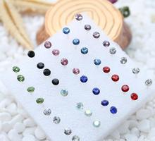 OMH wholesale 20pair 4mm  Red Bule Mix Fashion Girl Delicacy Crystal Small Stud Earrings EH282