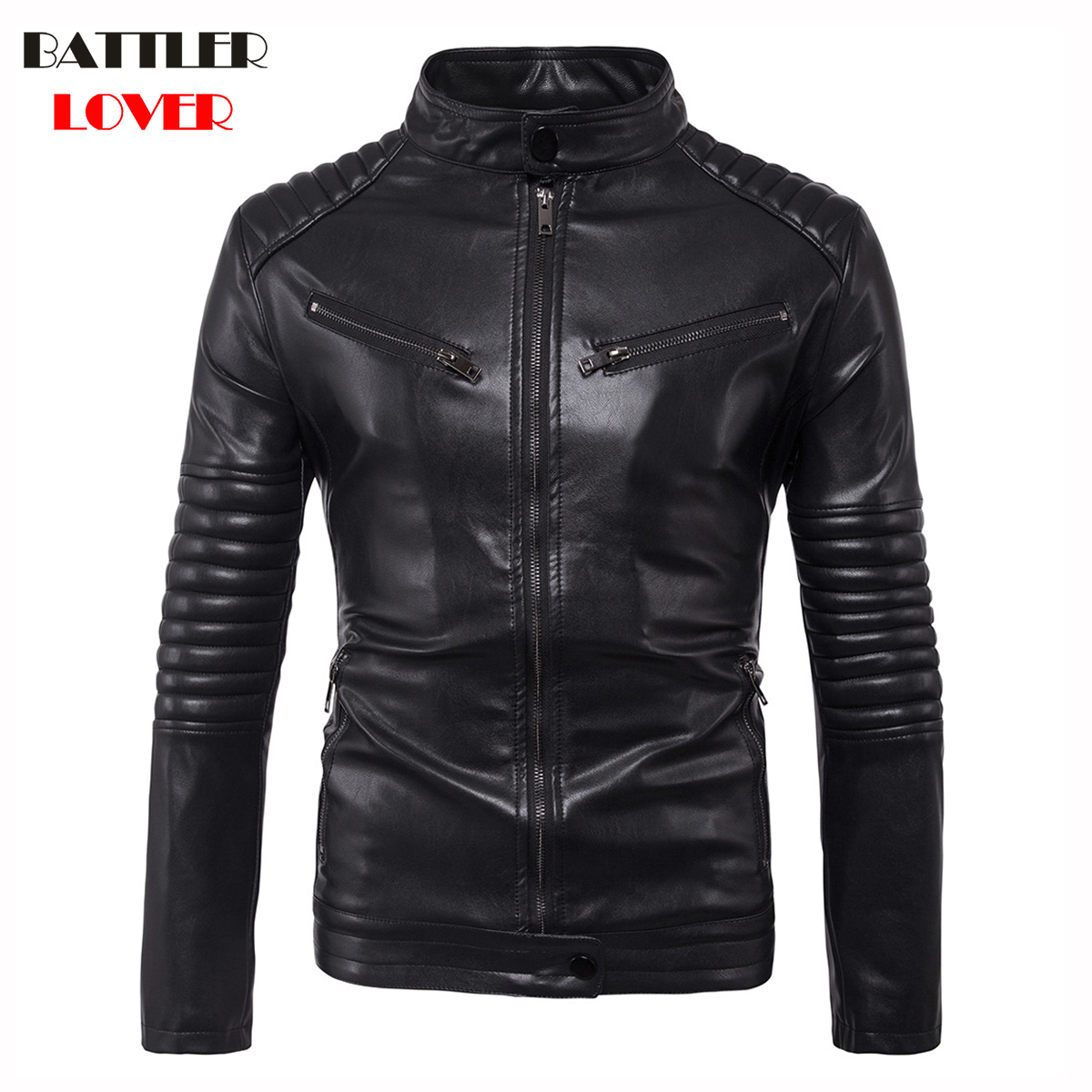 2018 New Mens Leather Coat Winter Faux Leather Warm Outwear Coats Men Punk Parka Jackets Hombre Thick PU Overcoat Brand Clothing