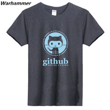 GEEK Linux Programmer Github Social Coding Geek Mens Fashion T shirts O-neck 100% Cotton 220gms Boys Solid T-shirt Black colored(China)