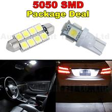 WLJH 6x White Led 41MM T10 W5W Led Light For Map Dome Licence Plate Light Package For Lincoln Town Car Navigator Aviator(China)