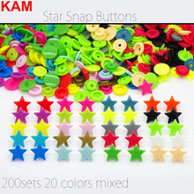 {200sets 20 colors mixed } KAM Star Shaped Plastic Snap Button Fastener Buttons For Baby Diaper 10 sets Per Bag Mixed m