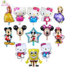 HEY FUNNY 5 pcs/lot mini Mickey Balloons For Boy&Girl Happy Birthday Decoration Cute Hello Kitty&Priness Balloon Free Shipping(China)