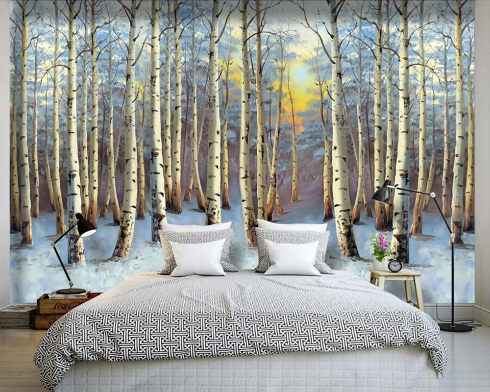 Custom 3D murals,Landscape painting poplar forest sunset wall paper mural 3d,living room TV wall children bedroom wallpaper<br>