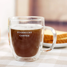 350ml Handmade Healthy Coffee  Mugs Double Wall Glass Coffee Cups Heat Resistant Glass Cups Thermal Insulated Creative