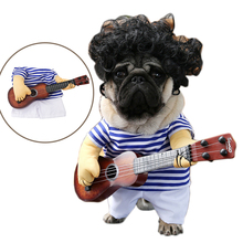 Funny Pet Guitar Player Cosplay Dog Costume Guitarist Dressing Up Party Christmas Halloween Clothes for Dog Cats Plus Wig/Bowtie(China)
