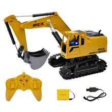 High Quality Car Toys 350 15 Channel 1/12 Rc Plastic Excavator 1:12 Rc Car With Charging Battery Kid Toy Christmas Gift(China)