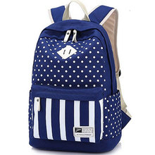 2017 New designer Navy Stripes teenage girls school backpacks Simple dot Canvas bag backpack fashion casual women travel bag