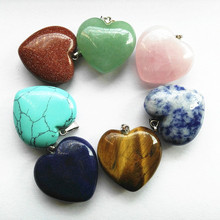 Socharming fashion jewelry pendants nature stone heart shape size 25mm tiger eye red stone rose quartz sodalite
