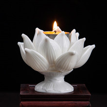 handmade porcelain rust tall lotus candle holder white ceramic flower candlestick modern home decorations ornaments