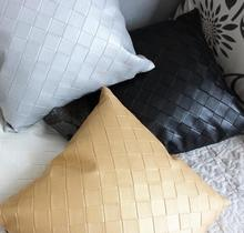 40*40cm 7colors classical double-sided simple lattice PU leather pillowcase car office grid cushion covers sofa pu pillow covers