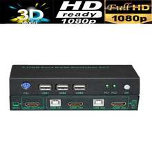 USB KVM Switcher 2X1 slector switch USB2.0+HDMI 1080P with mouse&keyboard