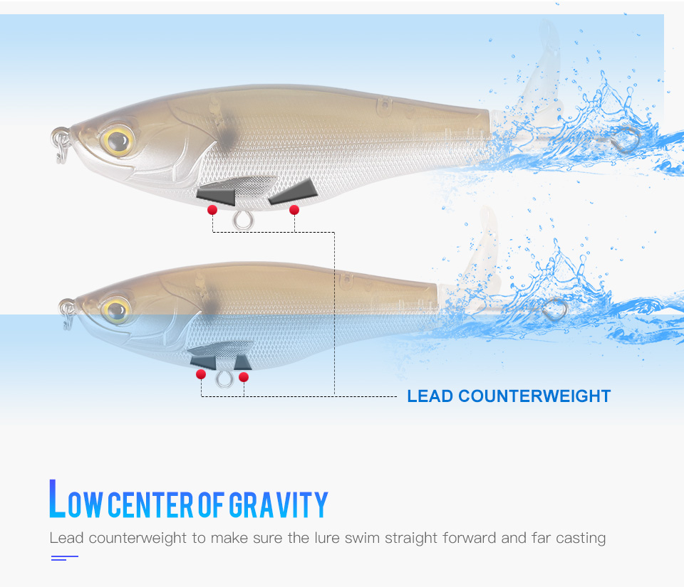 Kingdom 2019 New Whopper Plopper Fishing Lure 10cm 12cm Topwater Hard Baits Popper Soft Rotating Tail Wobblers Artificial Bait (6)
