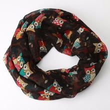 High Quality Newly Design Women Ladies Owl Cartoon Print Scarf Wrap Shawl O Neck Rings Stylish Fashion Chiffon Scarf Scarve F233