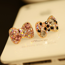 $10 Free Shipping kawaii sparkling luxury bow diamond anti dust plug for mobile phone kpop cute Full rhinestone headphone cap