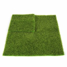 Lovely Plastic Synthetic Artificial Grass Mat Turf Lawn Garden Micro Landscape Ornament Home Decoration 2 Sizes 15*15cm 30*30cm(China)