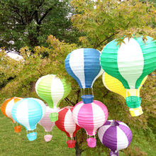 10pcs/lot 12 inch(30cm*48cm) Colorful Hot Air Balloon Paper Lantern Round Wishing Lanterns for Birthday Wedding Party Decor Gift(China)