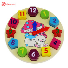 12 number 3D wooden puzzle toys children educational toys for kids  with cartoon digital geometry Clock  baby girl and boy toy
