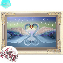 PSHINY 5D DIY Diamond embroidery love Swan Pictures Mosaic Kit Transparent Round Rhinestone Animals Diamond Painting cross stich(China)