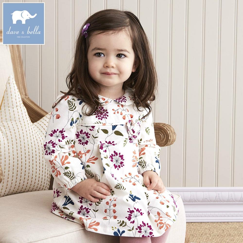 DB5740 dave bella baby girl lolita dress stylish printed peter pan collar dress toddler children dress<br>