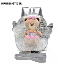 RUNNINGTIGER Cute Angel Bear Anti-lost Children School Bags For Girls Baby Toddler Girl School Backpack Kindergarten Kids Bag(China)