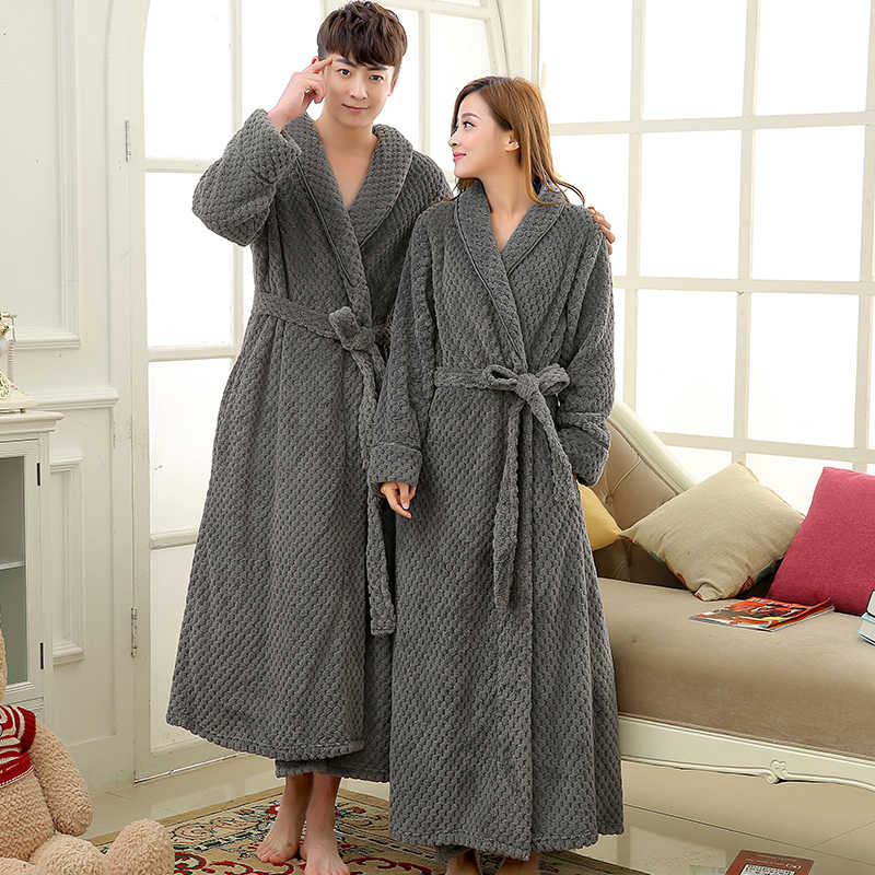 05d663b95f Mens Extra Long Thick Warm Winter Bathrobe Silk Soft Waffle Flannel Bath  Robe Men Kimono Robes