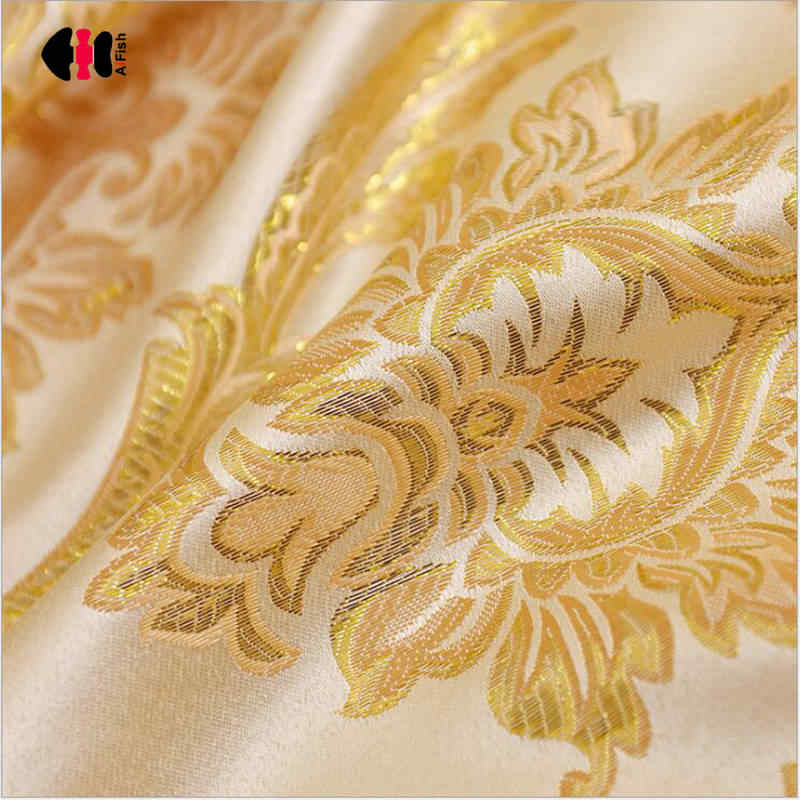 Modern Simple Cationic Shiny Gold Curtains Silk Jacquard Blackout Hotel Cafe Bedroom Window Drapes Blinds JS01C