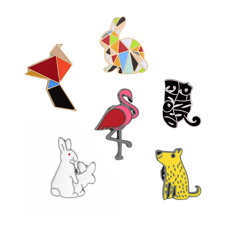 Creative Cartoon Geometric Multicolor Rabbit Flamingo Cute Cat Enamel Brooch Pins Denim Clothes Shirt Button Pin Animal Brooches(China (Mainland))
