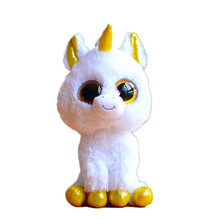 Ty Beanie Boos Original Big Eyes Plush Toy Doll 10 - 15cm White Unicorn TY Baby For Kids Brithday Gifts