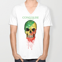Republic of Congo skull flag New Fashion Men's V-neck T-shirts Short Sleeve summer Mens tshirt Male Tops Tees Wholesale