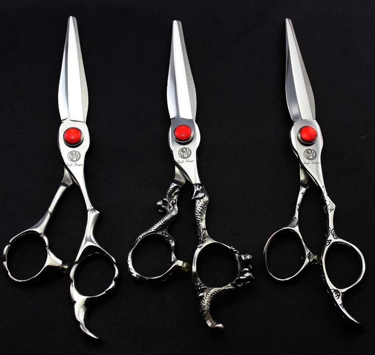 6.0 17.5CM 440C Barber Flat Hair Cutting Silver Scissors Stainless Steel Hair Scissor Hairdresser Shear Clipper DIY G069<br>