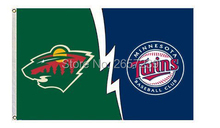 Minnesota Wild vs Twins Flag 3x5FT banner 100D 150X90CM Polyester brass grommets custom66(China)