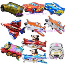 Cartoon Car Foil Balloons Mickey Airplane Helium Balloons Birthday Party Decorations Kids Airplanes Shape Party Baby Boy Toys