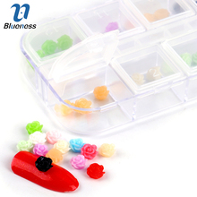 1 Box 12 Colors 48 Pcs Rose Flowers Nails Studs Tips Charms 3D Floral Nail Art Wheel DIY Decorations ZP071(China)