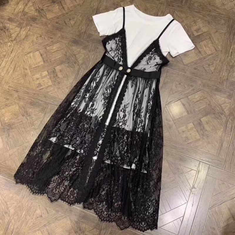 Lace Dress Black and White 2 pieces Women Dress with Short Sleeve Printed Flower Elegant Women Mid-Calf Dress with O-neck Collar