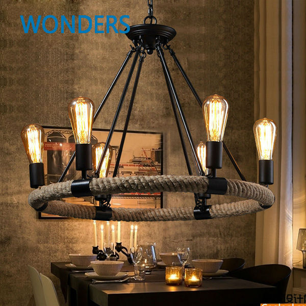 American Village Retro Pendant Lamp Creative Pastoral Rustic Country Style Rope Pendant Lights Cafe Restaurant Bar Bookstore<br><br>Aliexpress