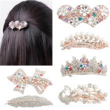 LNRRABC Women Elegant Crystal Twinkling Hair Clip Heart Bow Butterfly Hairpin Barrettes Hair Accessories prendedor de cabelo