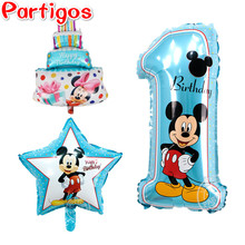 3pcs/lot mickey minnie mouse number 1 foil balloons mini cake globos baby shower theme birthday party decor supplies kids toys(China)