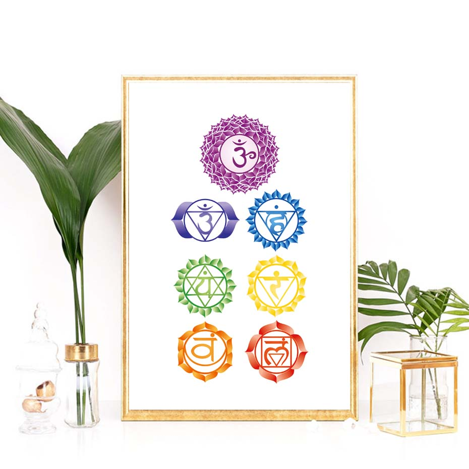 Chakras Canvas Art Print Painting Poster , Health Aum Meditation Yoga Om Symbol Poster Canvas Painting Wall Picture Home Decor (5)